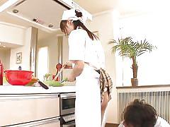 teen, upskirt, japanese, kitchen, vibrator, brunette, nice ass, cooking, asuka hoshino, 18 tokyo, idol bucks