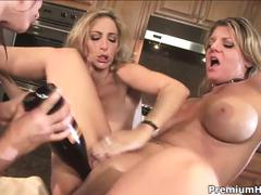 Sexy lesbian milfs fuck in the kitchen