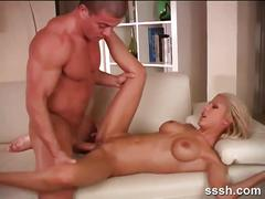 Busty blonde bent over her body to fuck in doggy
