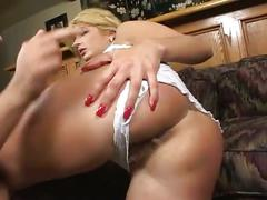 Hot young blonde gets fucked fucked in both holes