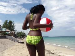 2 hot jamaican ebony babes shake their asses on the beach