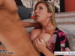 Blonde cougar sara jay gets big jugs fucked