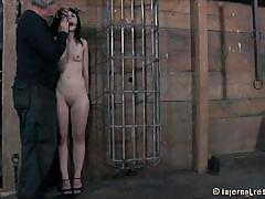 milf, bdsm, tied up, black hair, basement, on knees, bondage device, executor, mouth fucked, katharine cane, infernal restraints, kinkster cash