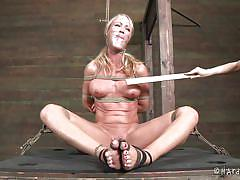 blonde, femdom, bdsm, milfs, tied up, black hair, ropes, duct tape, bastonnade, simone sonay, hard tied, kinkster cash