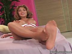 Hot asian with sexy toes