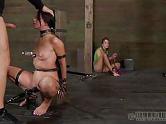 milf, bdsm, deepthroat, blowjob, brunette, tit torture, bondage device, suckers, mouth gagged, real time, mia gold, real time bondage, kinkster cash
