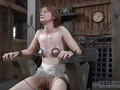 small tits, milf, bdsm, redhead, vibrator, tit torture, mouth gagged, electrodes, tied on chair, real time, muzzle, hazel hypnotic, real time bondage, kinkster cash