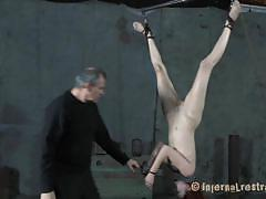 bdsm, hanging, whipping, brunette, chained, bondage device, executor, hailey young, infernal restraints, kinkster cash