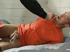 Prisoner mouth fucked by his guardian