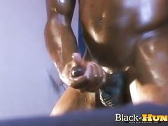 J strong jerks his oily huge black cock