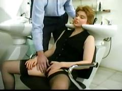 Sweet hairy pussy and ass fucked in salon