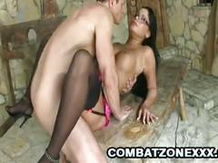 Busty brunette gets banged in the dungeon