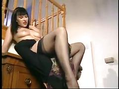 Horny milf in black stockings