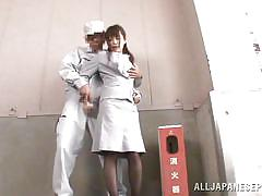 milf, pissing, asian, caught, blowjob, brunette, worker, hairy pussy, on knees, stairways, wierd japan, idol bucks