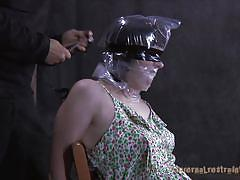 milf, bdsm, blindfolded, handcuffed, black hair, duct tape, executor, plastic bag, restraints, madisin moon, infernal restraints, kinkster cash