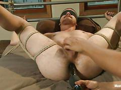 bdsm, dildo, blindfolded, tied up, big dick, cock torture, anal insertion, gay, ropes, dayton o'connor, men on edge, kinky dollars