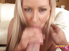Busty blonde babe carolyn reese enjoys deep bj.