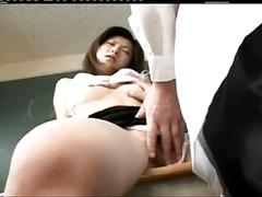 Pretty sexy japanese teacher's hot hairy cunt fucked