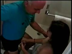 Old man fucks hairy janice in the bathroom