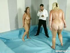 Bbw naked wrestling with a hardcore surprise