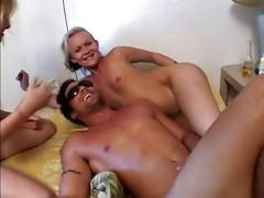 Amature dude walking pet lucks into a orgy with 4 sluts