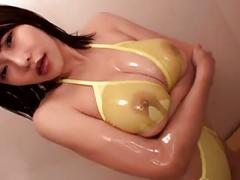 Anri okita fondled in yellow bikini (softcore)