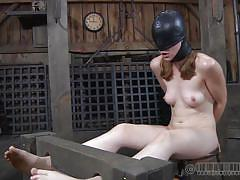 small tits, milf, bdsm, deepthroat, mask, fucking machine, brunette, bondage device, shackles, real time, hazel hypnotic, real time bondage, kinkster cash