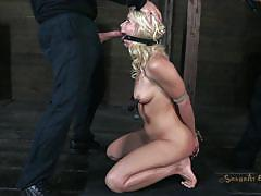 Bent over and then knelt
