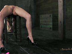 milf, blonde, bdsm, big boobs, tied up, tits torture, basement, ropes, mouth fucking, courtney taylor, matt williams, sexually broken, kinkster cash