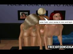 Lusty 3d girls in lesbian action are joined by stud