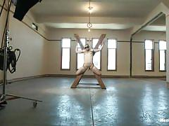 Blindfolded boy enjoys his punishment