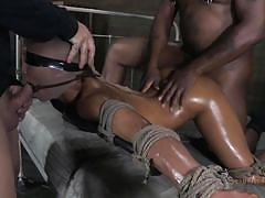milf, threesome, bdsm, ebony, interracial, nylon, oiled, blindfolded, tied up, ropes, mouth fucking, restraints, nikki darling, matt williams, sexually broken, kinkster cash