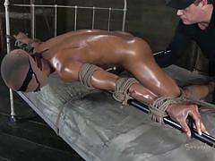Tied, oiled and ready for deep penetration