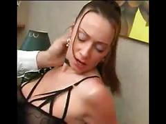 Hairy french brunette in sexy lingerie fuck and facial