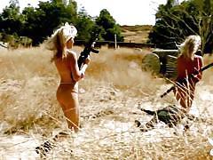 blonde, playboy, swimming, naked, outdoors, busty babes, guns, badass, playboy tv, nikki leigh