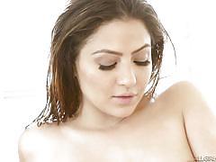 Milky white girls bathing together