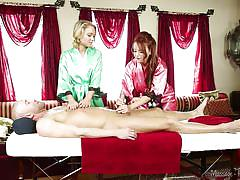 Blonde angel learns the art of massage