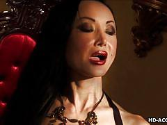 Mature asian mistress make her slave eat pussy