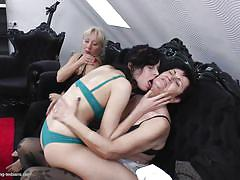 blonde, threesome, granny, lesbians, mature, kissing, black hair, young and old, old and young lesbians, mature nl, pamela g., karina w., julia o.