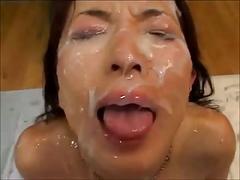 Japanese girl gets plenty of jizz