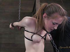 Knelt white chick dominated by a black cock