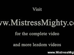 Lezdom humiliation with roped and dildo