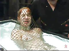 babe, redhead, fishnet, breathplay, water, metal collar, water bondage, kink, calico