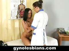 Lesbian gynecologist examines her sexy patient