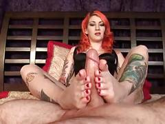 Scarlett's amazing absolute footjob redhead with tattoos