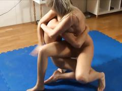 Blonde vs skinny guy, loser pleases the winner - super hot