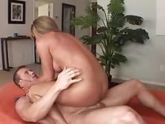 Athletic milf pleasures a cock and take load on tongue