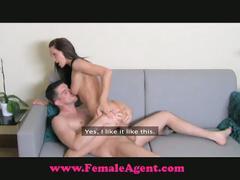 Guy bangs his horny brunette female agent