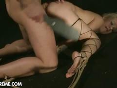 Sexy sweet slaves get her pussy ripped hard