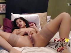 Indian gf on live cam show with her boyfriend naked playing with her pussy